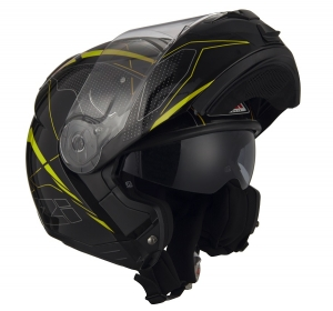 Casca flip-up NZI Combi 2 Duo, Sword Black/Yellow